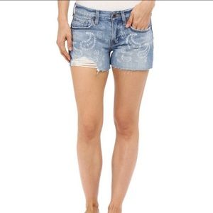 Lucky Brand The Cut Off Distressed Jean Shorts 0